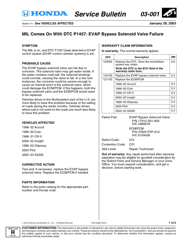 MIL Comes On With DTC P1457: EVAP Bypass Solenoid Valve Failure 03