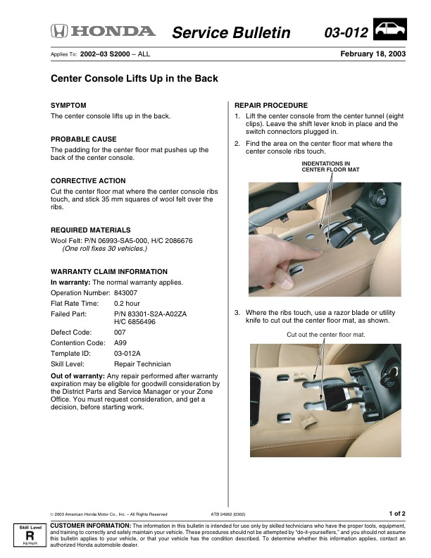 Center Console Lifts Up In The Back 03 012 S Ni Sen